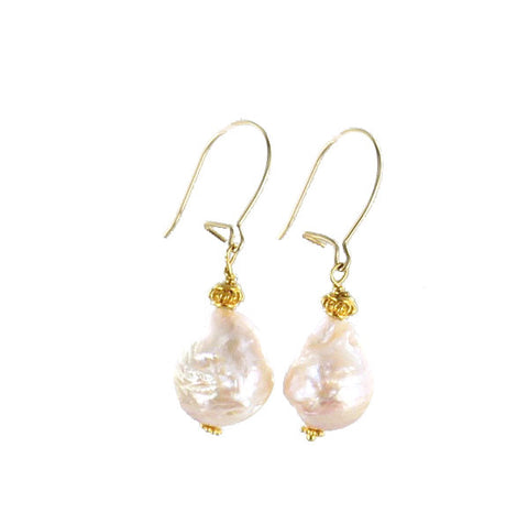18K GOLD BEADED BAROQUE PEARL EARRINGS WIRE