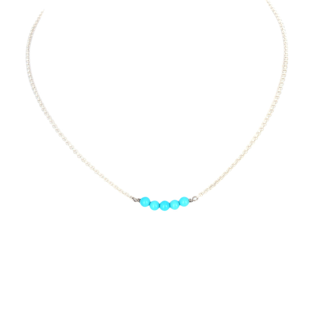 Sleeping Beauty TURQUOISE Sterling Silver Chain Necklace 17""