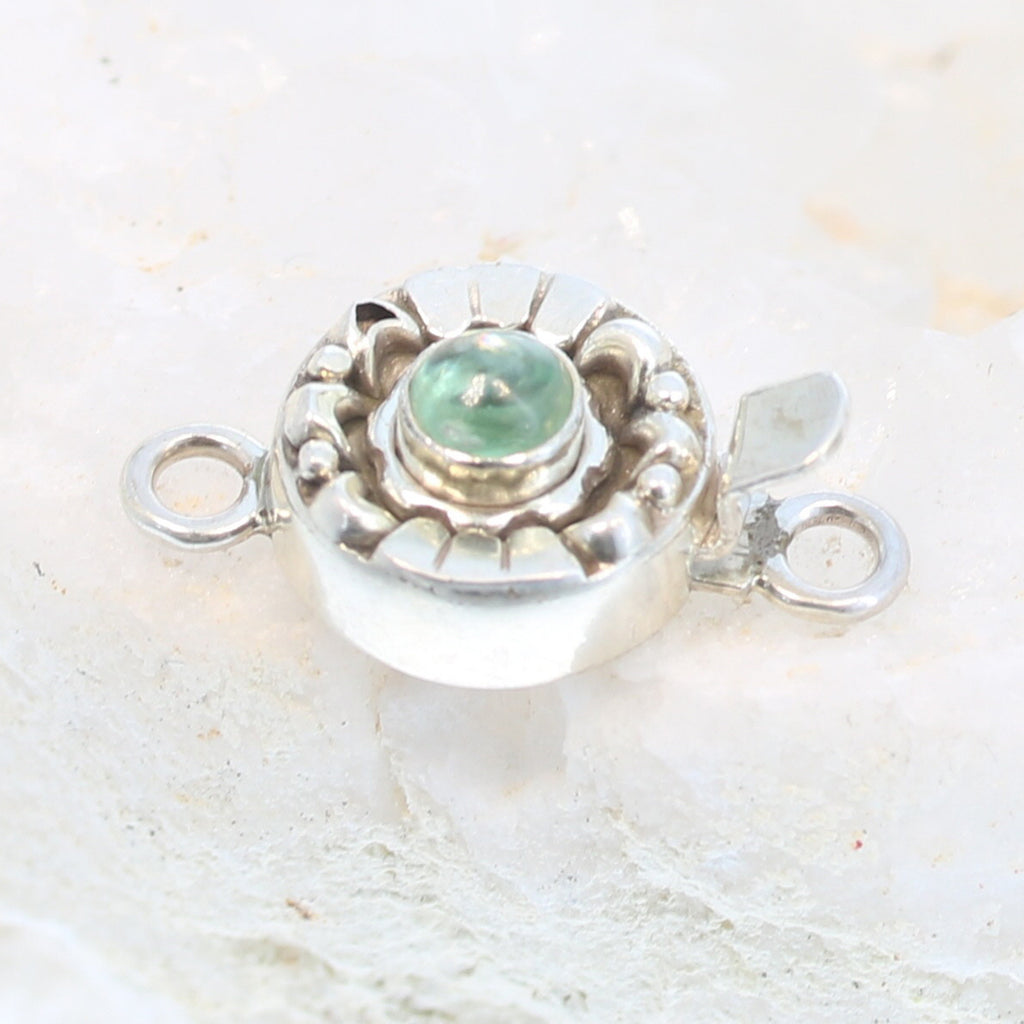 GREEN KYANITE Clasp Sterling Silver 5mm Moon Lotus Design