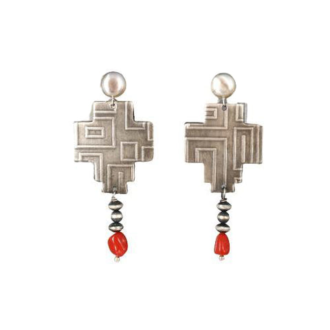 ITALIAN CORAL Sterling Southwestern Cross Earrings