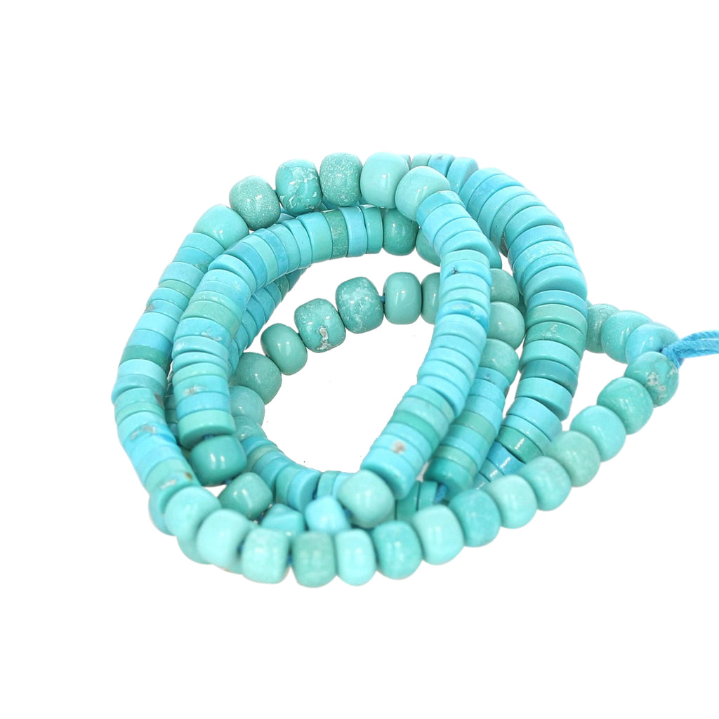 SLEEPING BEAUTY TURQUOISE BEADS MIXED RONDELLE BUTTON