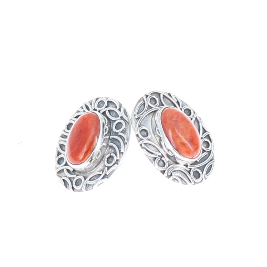 Red Orange Spiny Oyster Earrings Oval 7x9mm Posts Wire Design