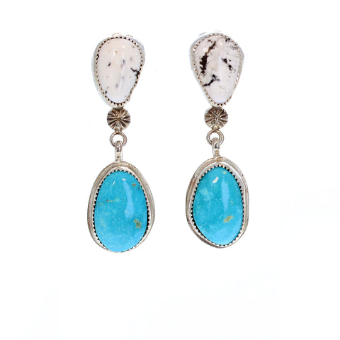 Kings Manassa and White Buffalo Turquoise Earrings Sterling Southwest Colorado