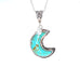 Kingman Turquoise Crescent MOON Crystal Pendant Necklace