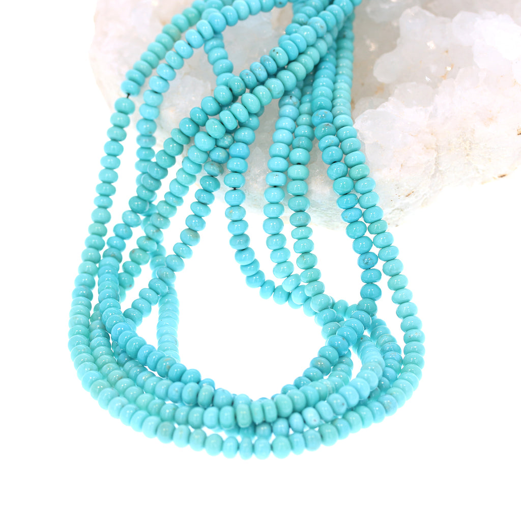 AAA Campitos MEXICAN TURQUOISE 5mm Rondelle Beads Robins Egg Blue