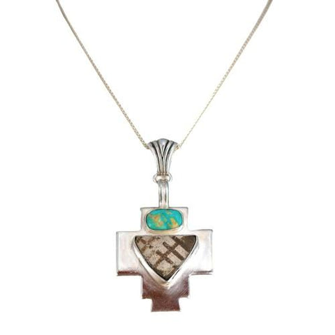 Carico Lake Turquoise Cross Pendant with Anasazi Pottery