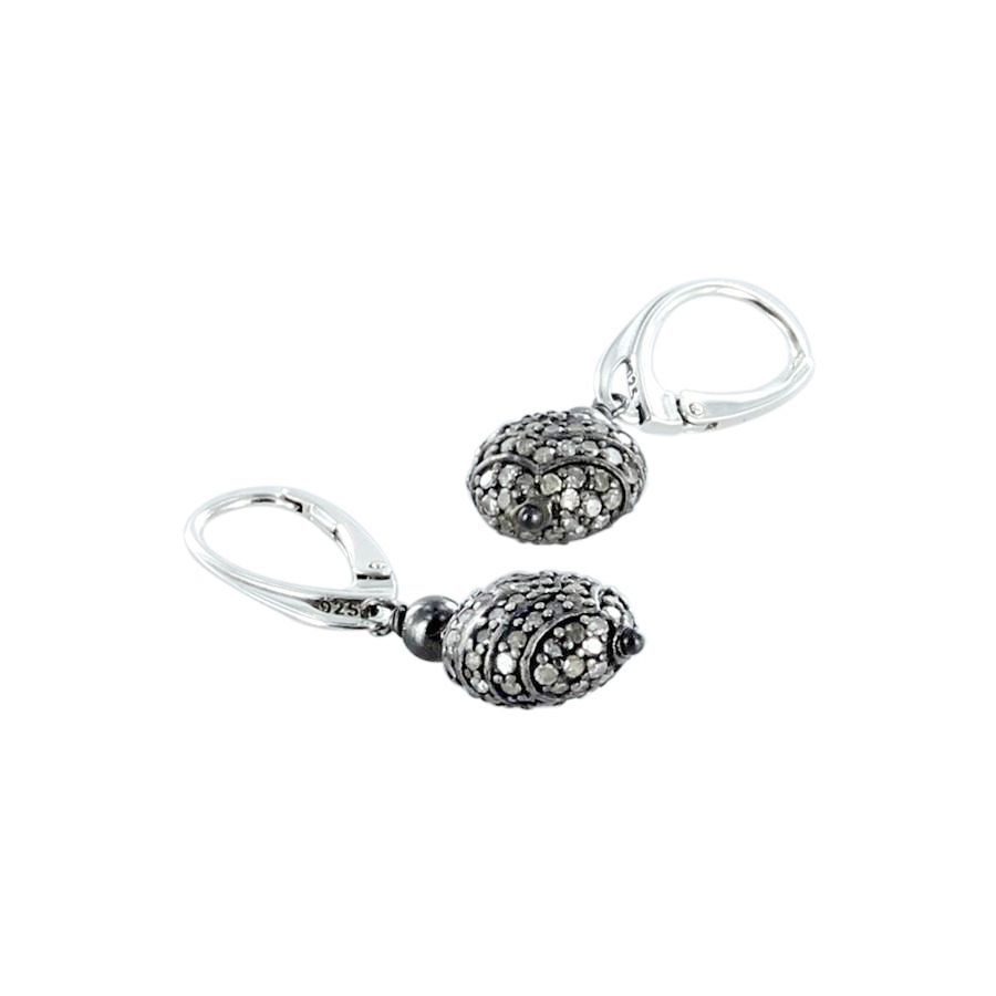PAVE DIAMOND EARRINGS Sterling Silver 11mm