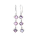 Lavender FLUORITE EARRINGS Sterling Faceted 3 Stone