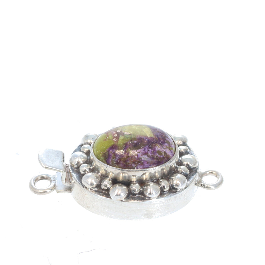 STICHTITE CLASP Sterling Silver Purple and Green Ball Design 14x11mm