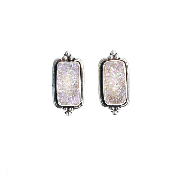 DRUSY CRYSTAL EARRINGS Sterling Silver and Pink Posts Studs