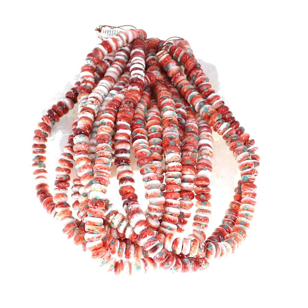 "Red SPINY OYSTER Beads with Turquoise Inlay 16"" 10mm"