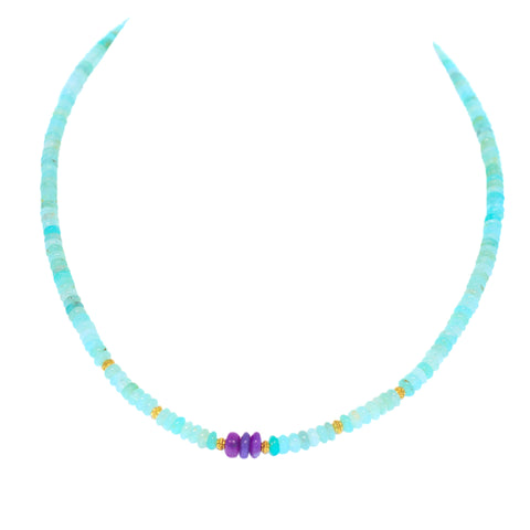 AAA PERUVIAN OPAL Necklace 18K Gold Sugilite 4-6mm