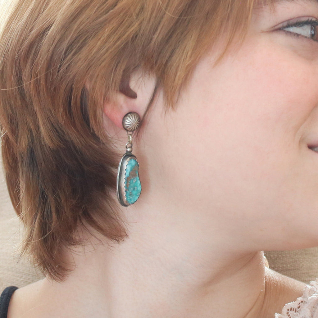 Asymmetric Mexican Turquoise Earrings SterlingFreeform Bright Blue