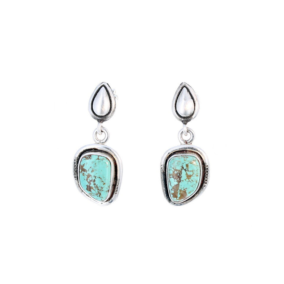 CARICO LAKE TURQUOISE Earrings Matrix Blue Southwest Style