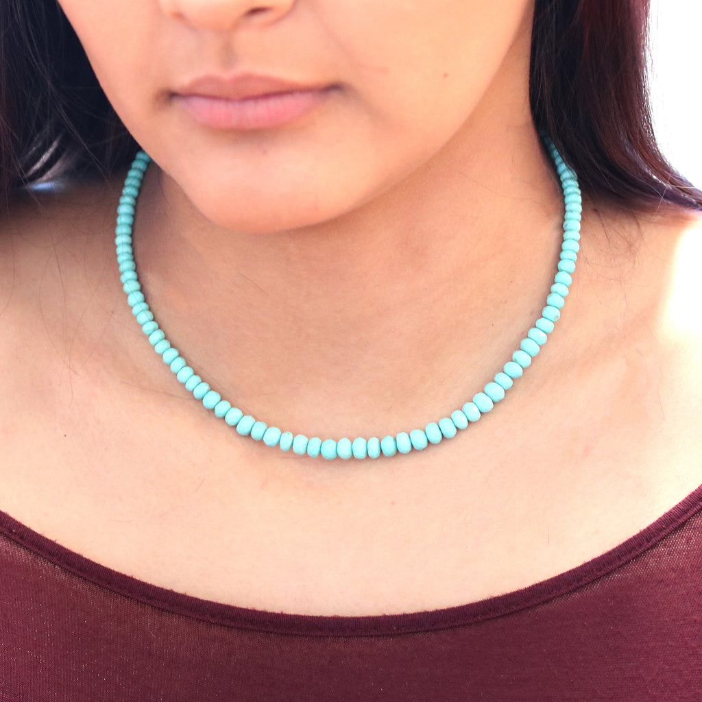 Faceted Campitos Turquoise Necklace 18K Gold