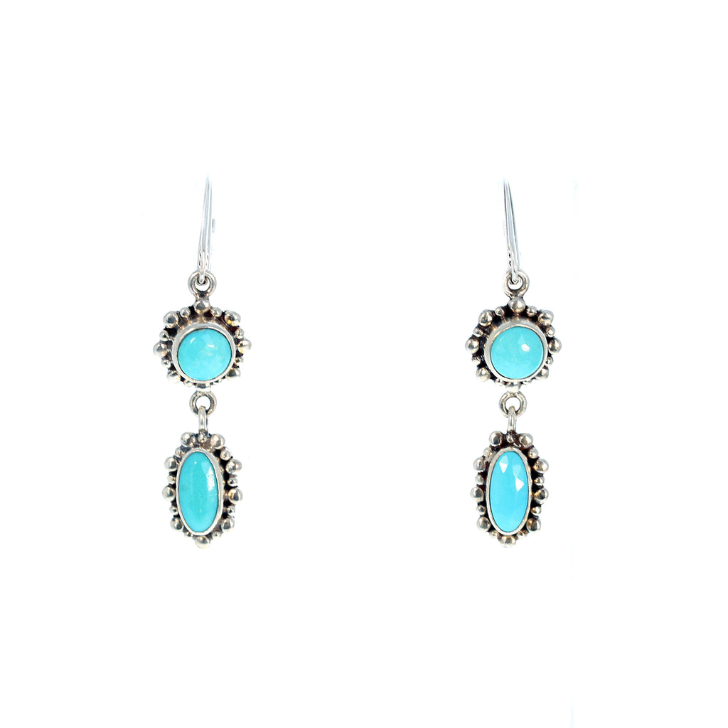 SLEEPING BEAUTY TURQUOISE  Earrings 2 Stone Faceted