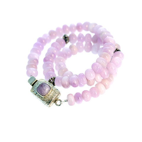 KUNZITE BEADS NECKLACE Lilac Pink Sterling