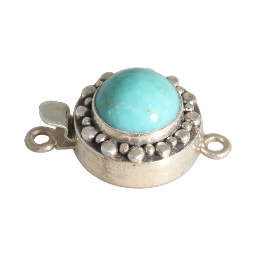 KINGMAN TURQUOISE 12mm ROUND SHAPE STERLING CLASP