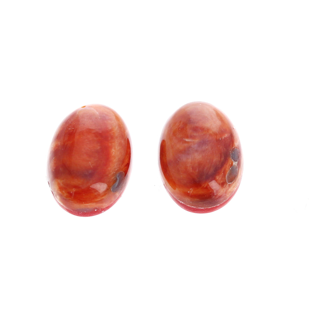 Deep Red Orange SPINY OYSTER Cabochon Pair Oval 10.5x12.5mm