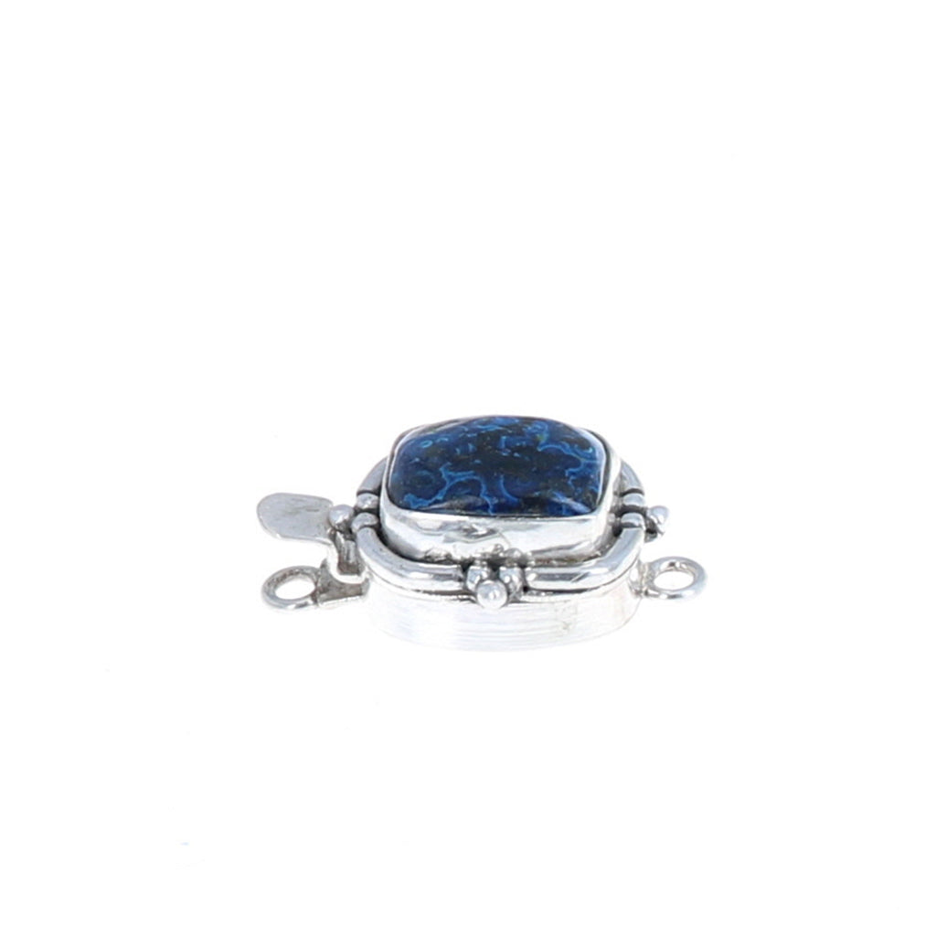 Blue Bird Azurite Chrysocolla Sterling Clasp Cushion Shape Sterling