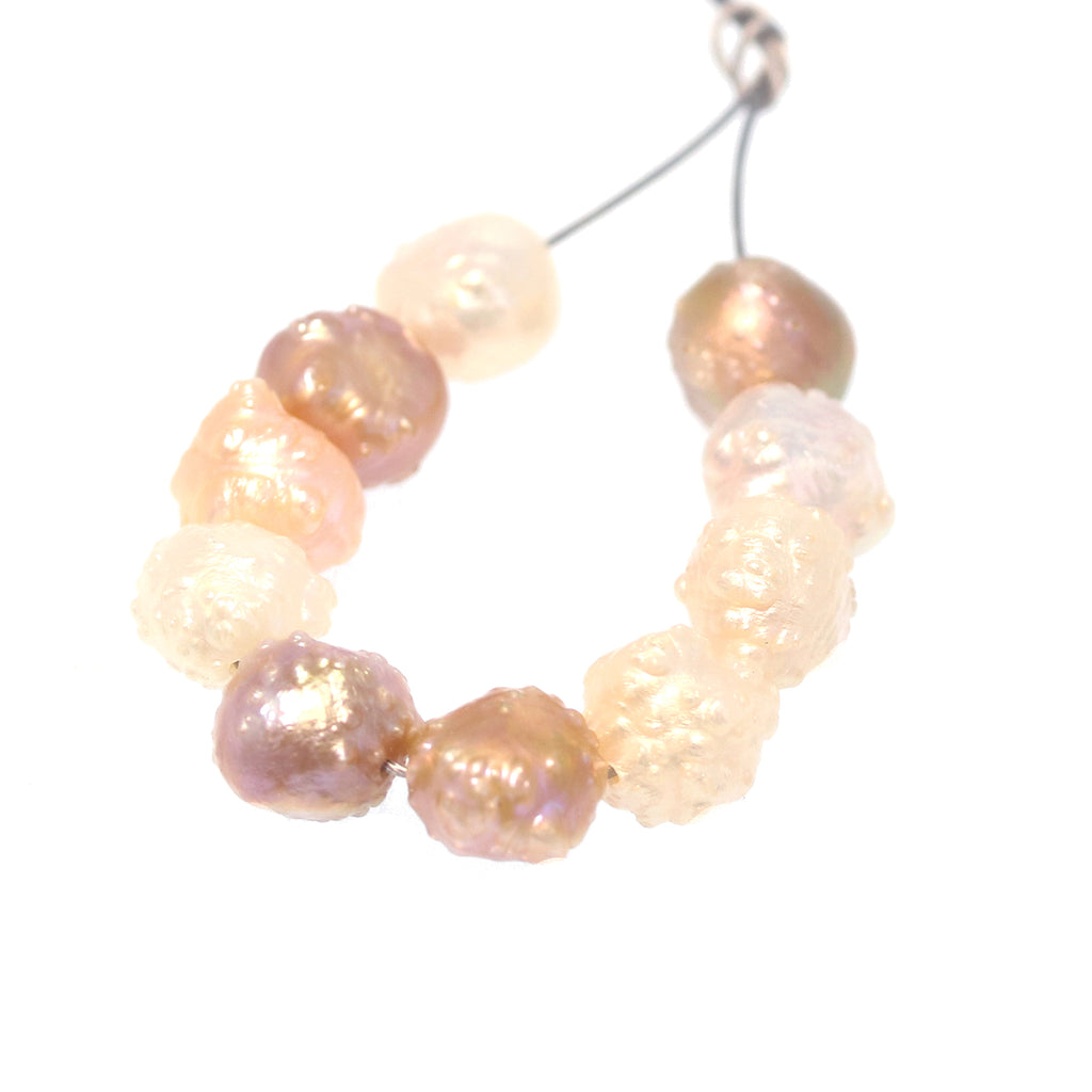 BEAUTIFUL DRUSY PEARLS Natural Colors 10 Pc Set
