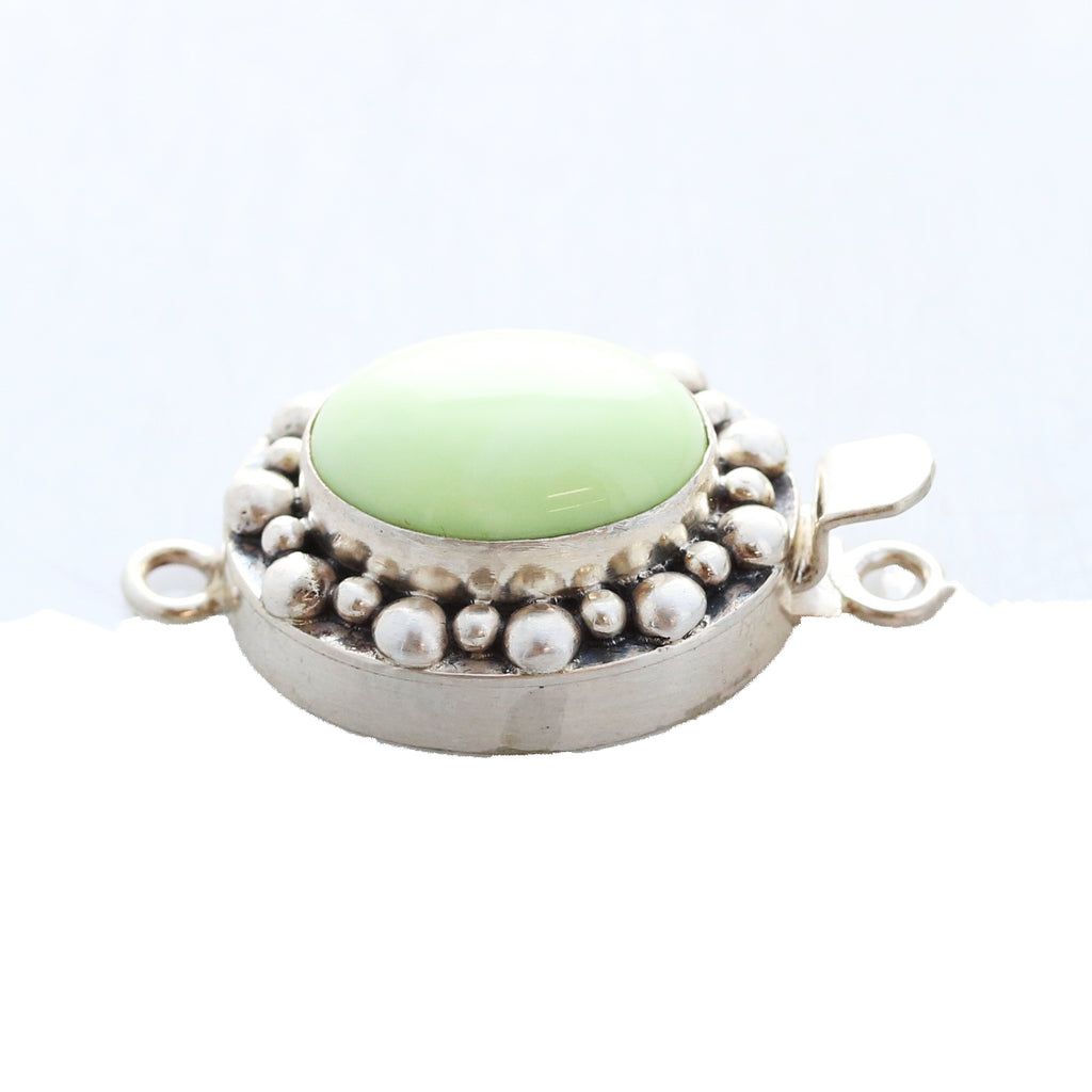 LEMON CHRYSOPRASE CLASP Sterling 17x13mm Ball Design