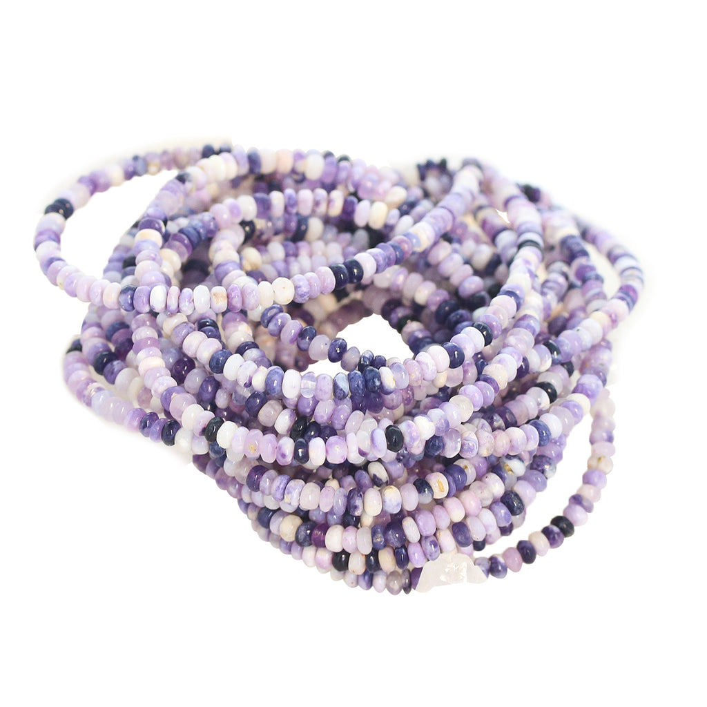 Mexican Opal Beads 3.5mm Rondelles Lavender Purples