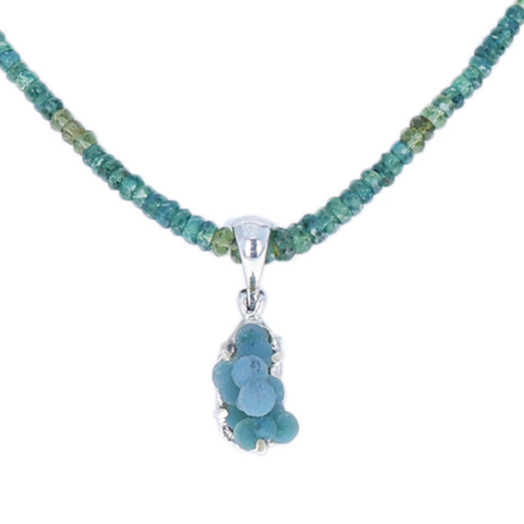 Teal Blue Sapphire Necklace with Grape Chalcedony Pendant