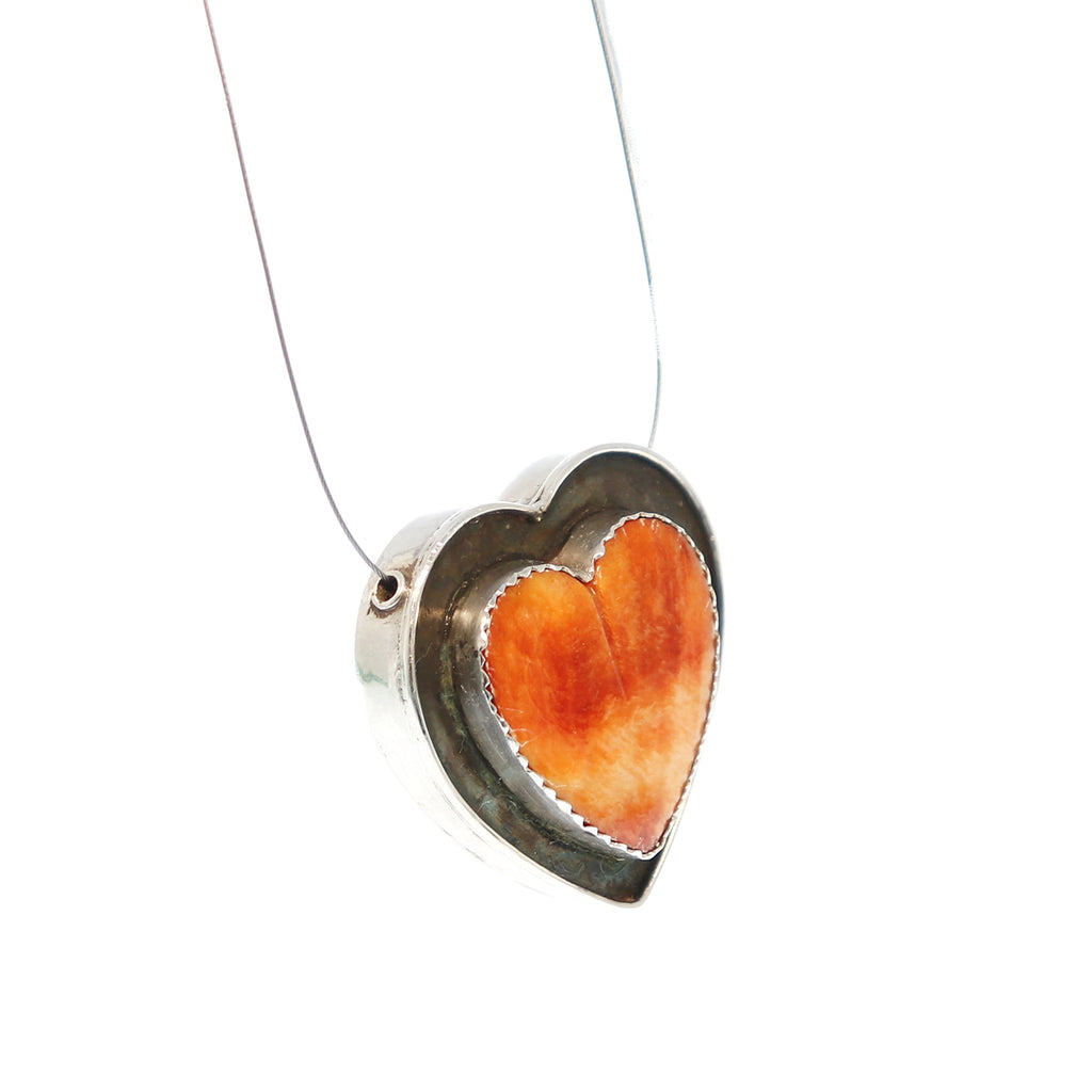HEART PENDANT BEAD Spiny Oyster Orange Sterling Southwest Large