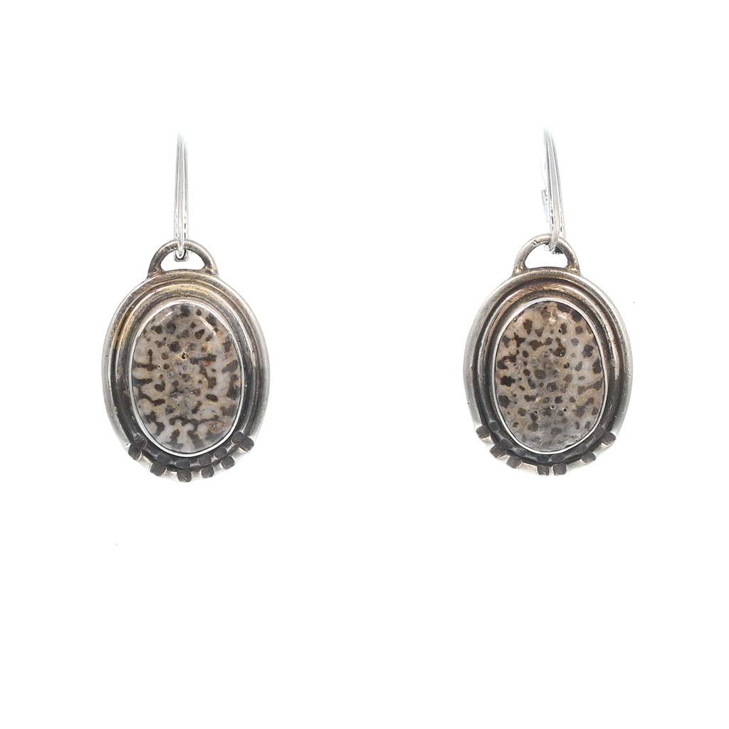 Bryozoan Black Fossil Coral Sterling Earrings Unique Handmade