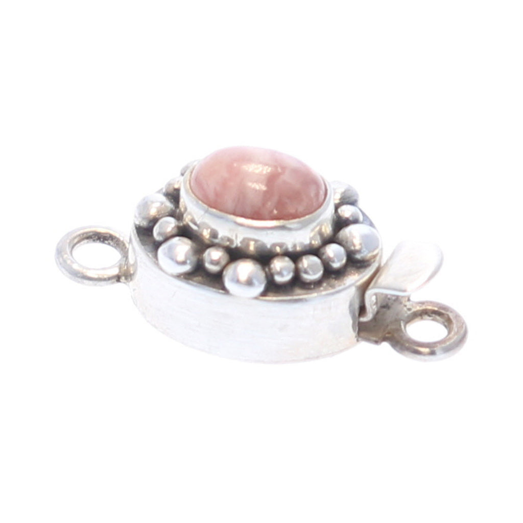 Rhodochrosite Clasp Dot Design 9x7mm