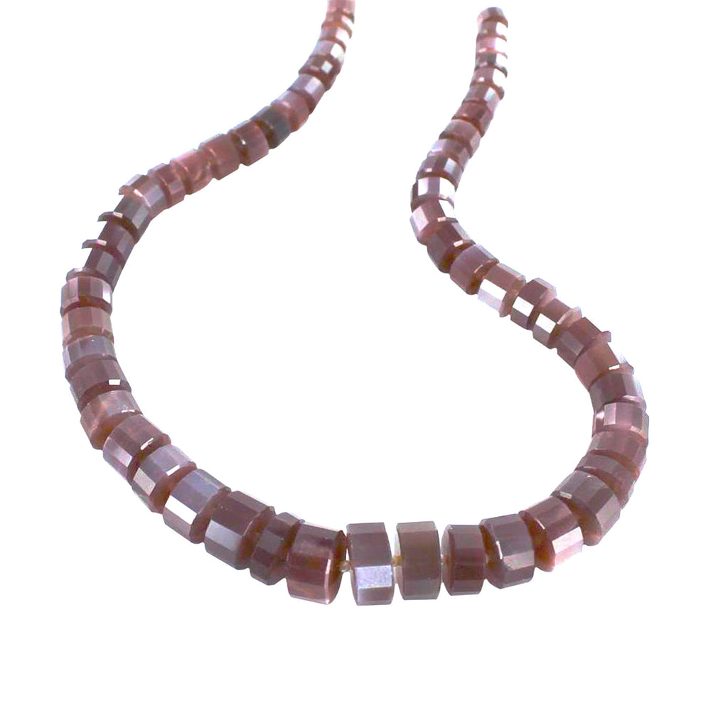 MOONSTONE BEADS Chocolate Faceted Discs 8-15mm 16""