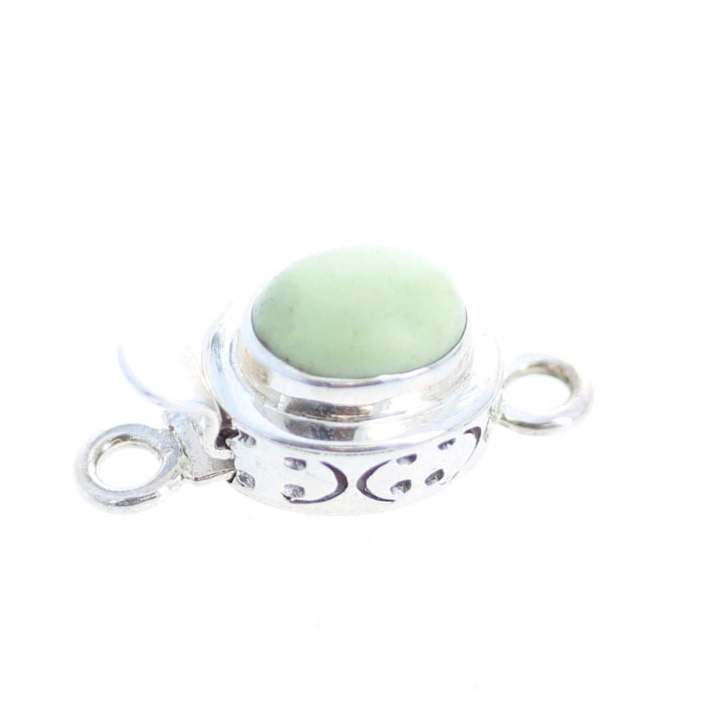 LEMON CHRYSOPRASE CLASP Sterling 8x10mm Etched Design
