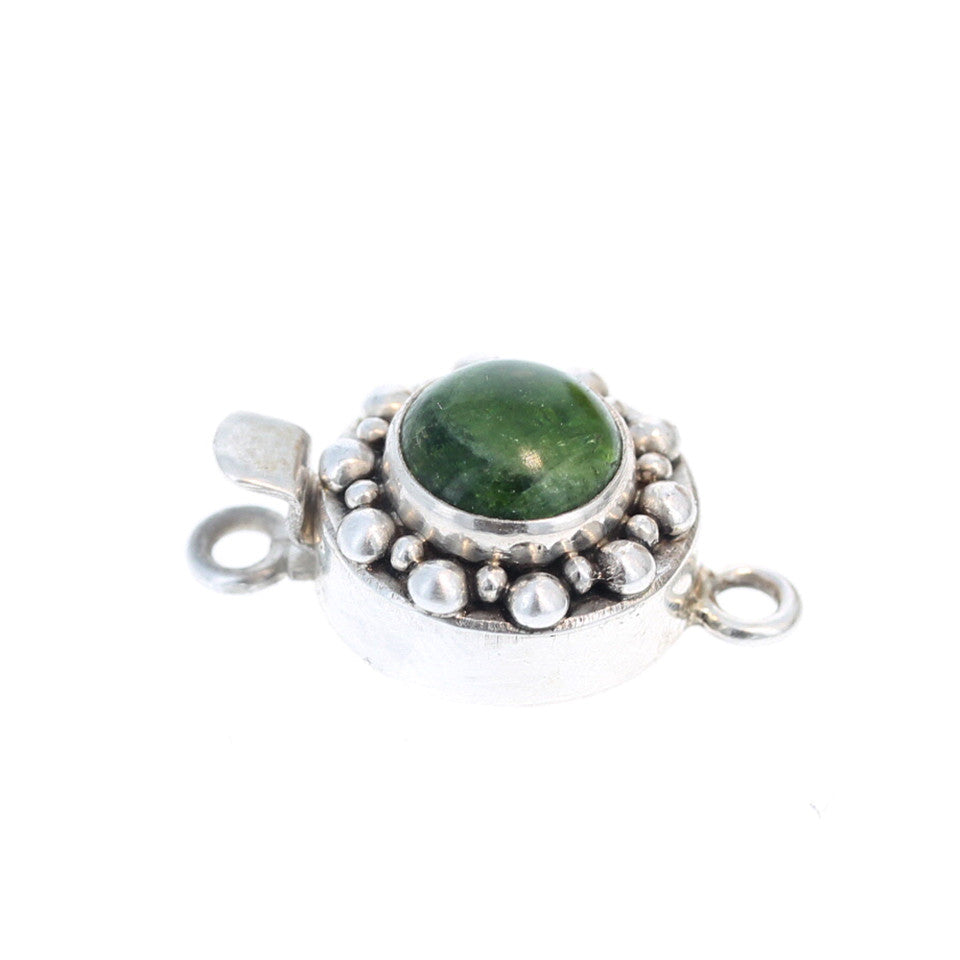 CHROME DIOPSIDE CLASP STERLING ROUND 10mm Dot Design