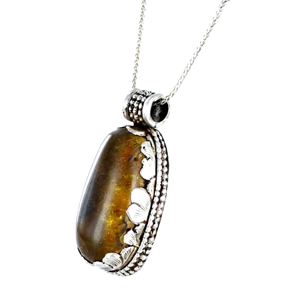 Petal Pendant AMBER Sterling Silver Large Oval