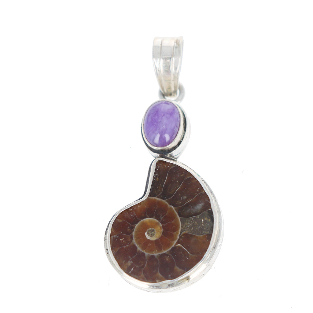 Opalized FOSSIL AMMONITE and Sugilite Pendant Sterling