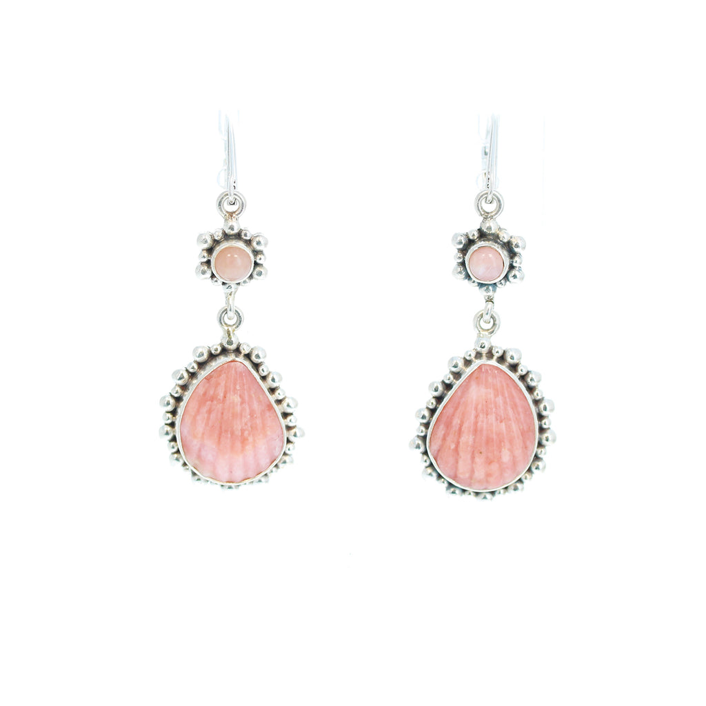 PINK PERUVIAN OPAL STERLING EARRINGS CARVED SHELL