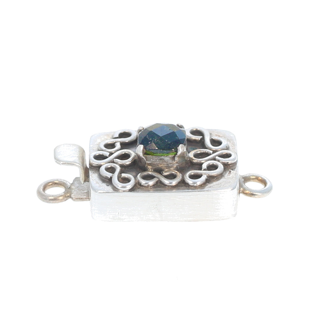 Deep Green Tourmaline Clasp Faceted Wire Design Sterling