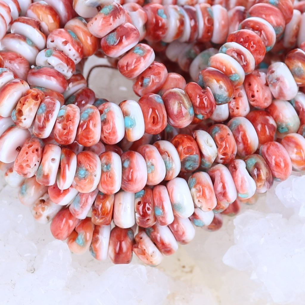 "Red SPINY OYSTER Beads with Turquoise Inlay 16"" 8mm"