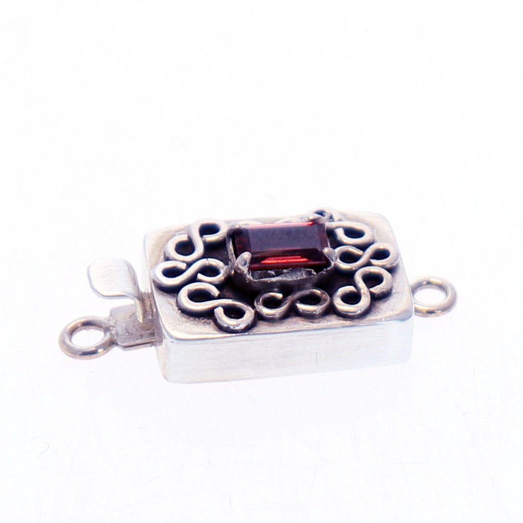 Garnet Clasp Faceted Sterling Wire Design