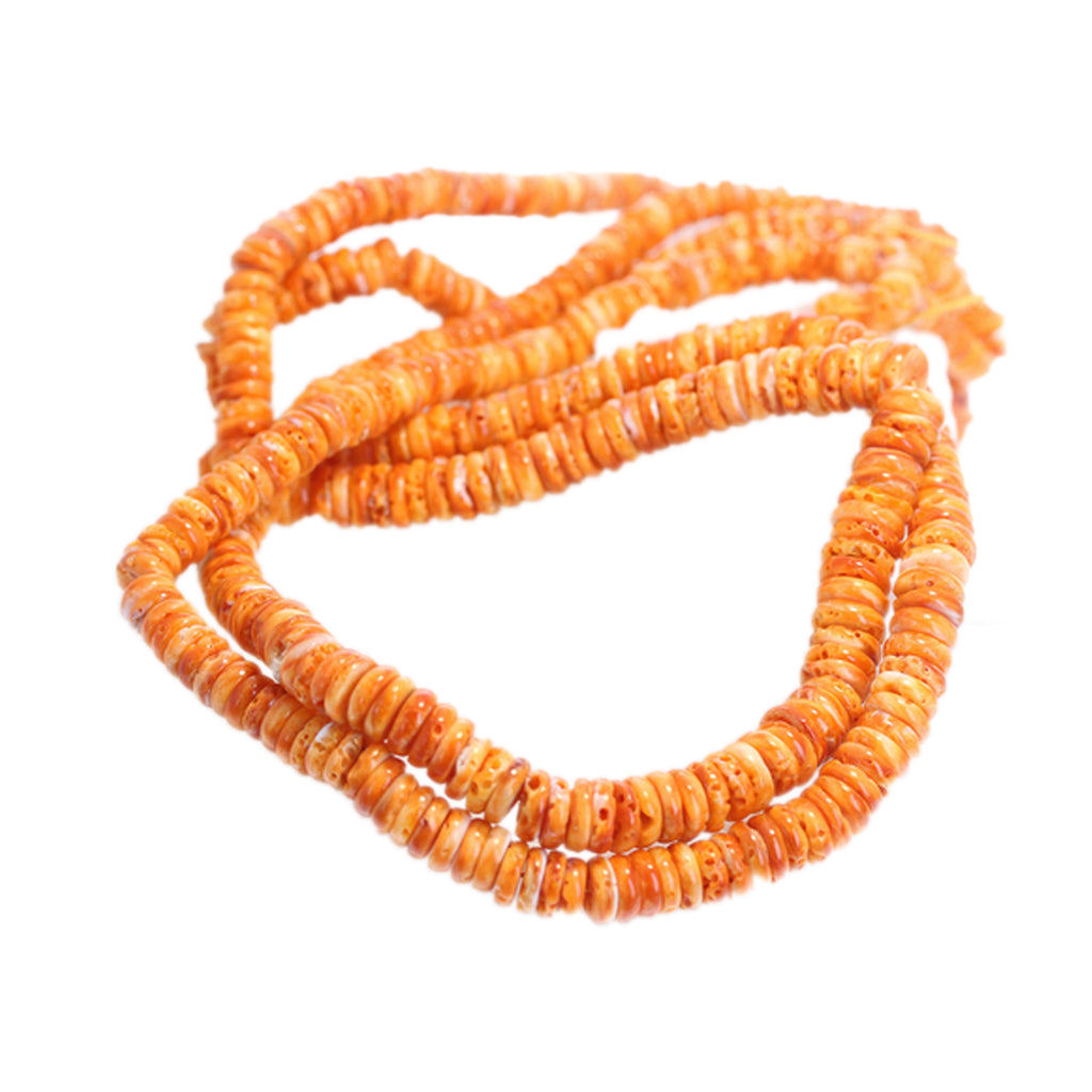 ORANGE SPINY OYSTER Beads Graduated Buttons 5-10mm 21""