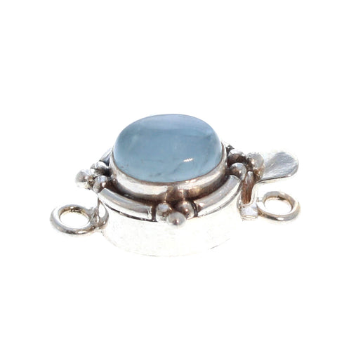 AQUAMARINE CLASP OVAL Granulated 8x6mm Sterling