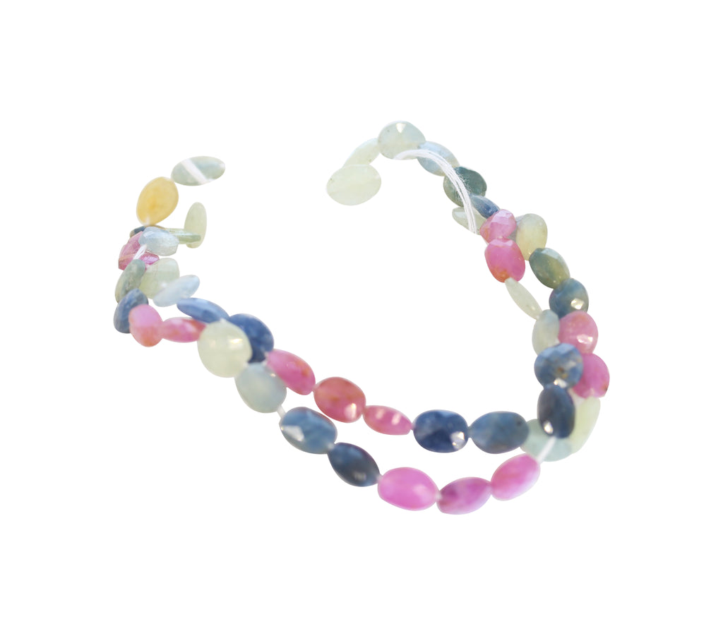 SAPPHIRE BEADS PINK SILVER BLUE FACETED 9x6.5mm Ovals