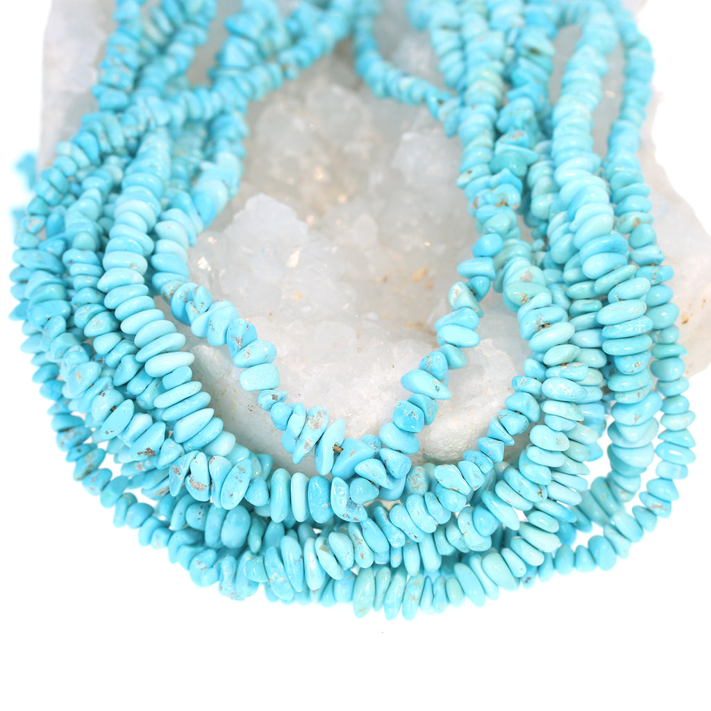 SLEEPING BEAUTY TURQUOISE NUGGET BEADS LIGHT BLUE