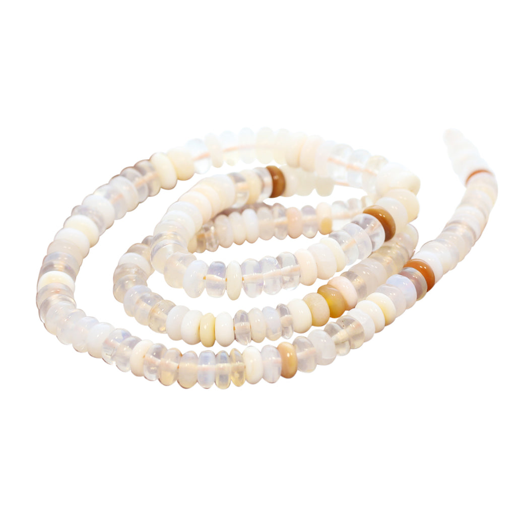 MEXICAN OPAL BEADS Rondelles White Cream Pale Apricot 5-7.7mm