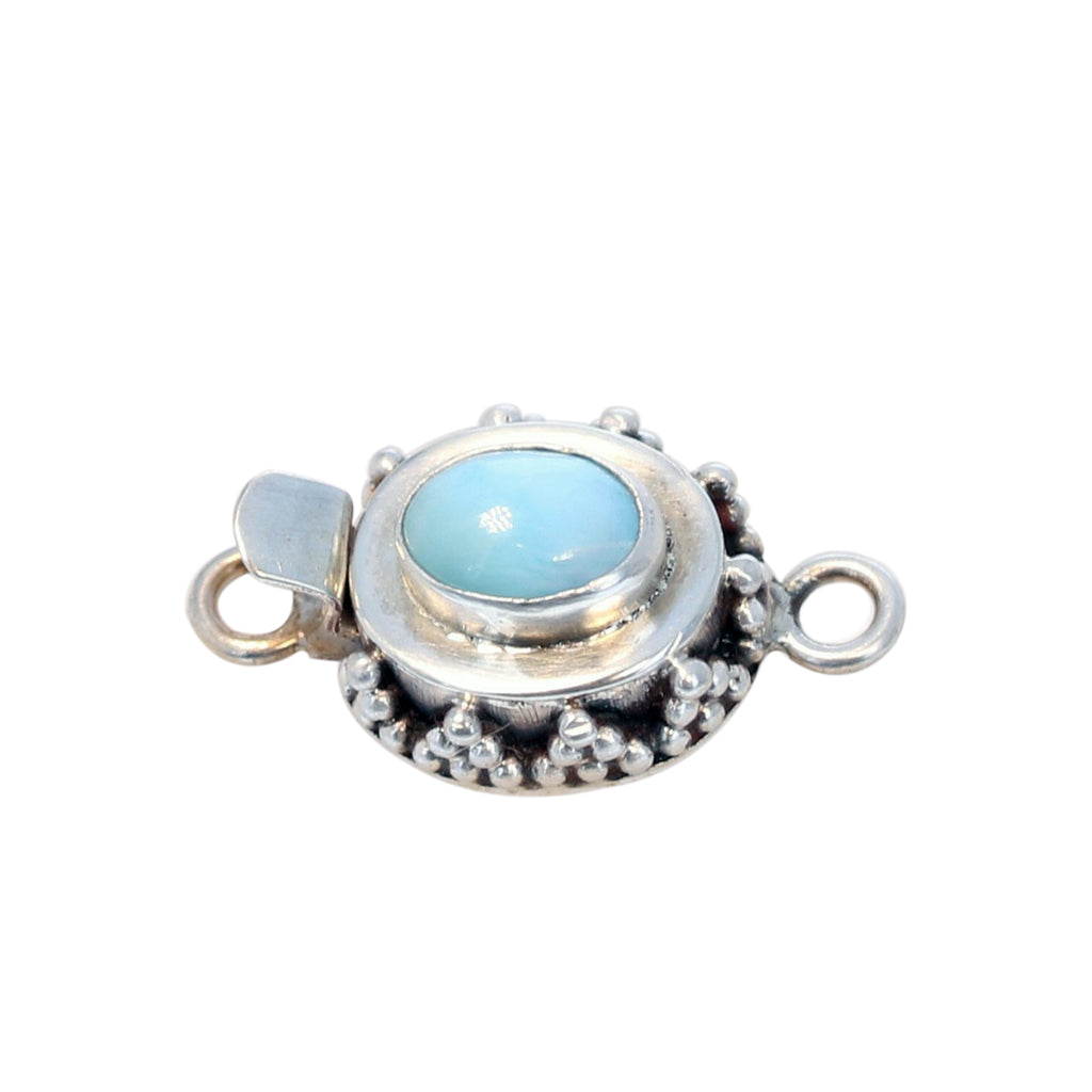 Larimar Clasp 8x6mm Granulated Design Sterling