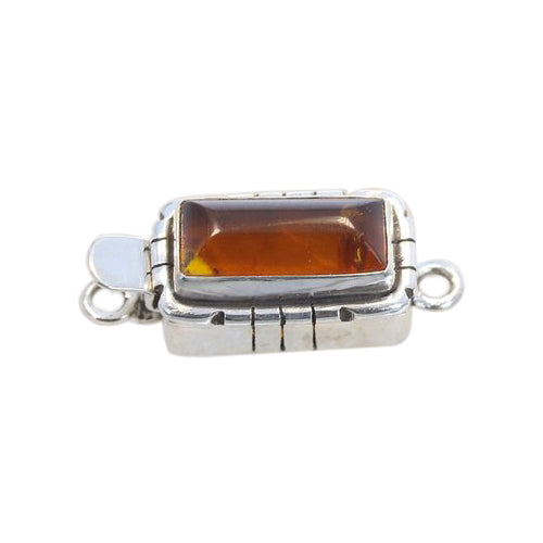 Amber Clasp Bar Shaped Southwest Style Sterling 16x8.5mm