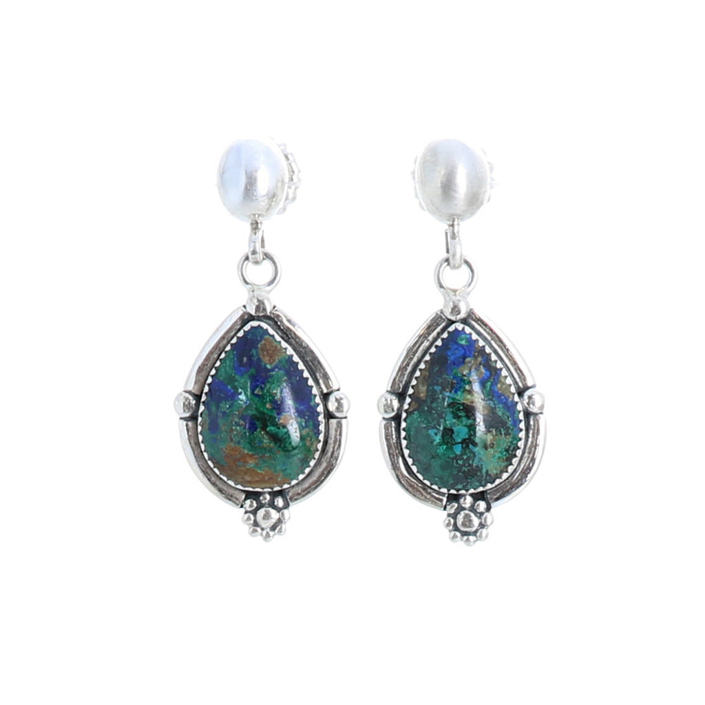 AZURITE MALACITE EARRINGS Sterling Southwest Style Small