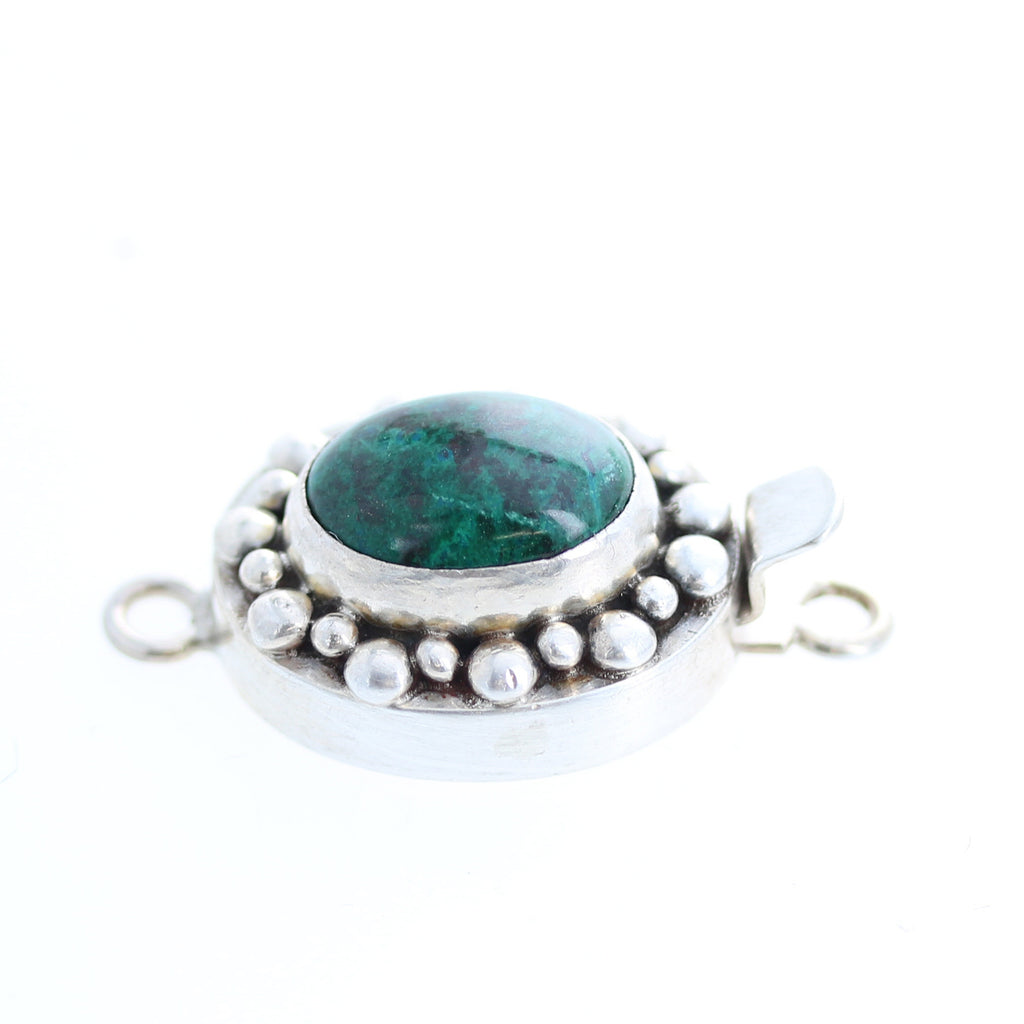 GREEN CHRYSOCOLLA CLASP Sterling Oval 14x10mm