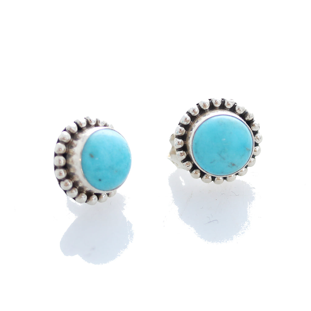 KINGMAN TURQUOISE EARRINGS Round 9.5mm Post Style